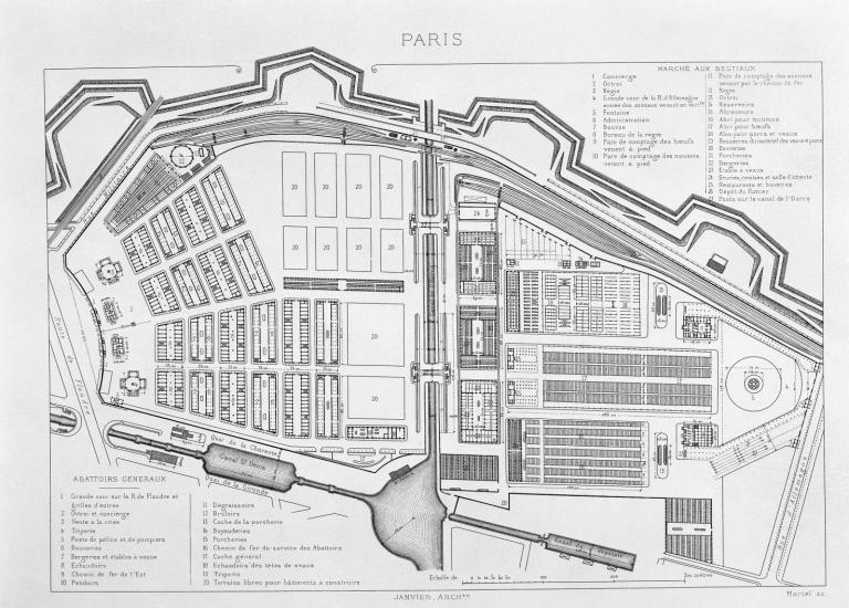 Plan des abattoirs du marché aux bestiaux de La Villette - 1868